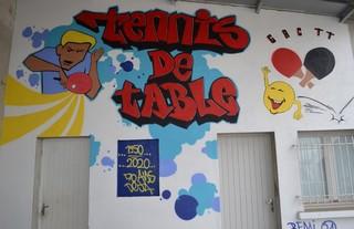 Fresque murale réalisée par Rémi Vines artiste-peintre pour les 70 ans du club